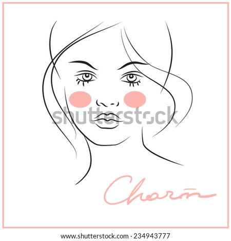 Woman face beauty mask template set stock vector 650925097 pretty girl with rosy cheeks pronofoot35fo Gallery