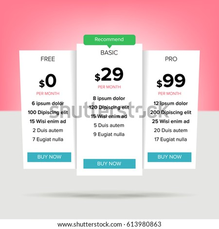 Vector Pricing Table Template Flat Line Stock Vector 600346496