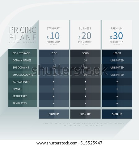 Pricing comparison table set commercial business stock vector pricing comparison plan set for commercial business web services and applications design element interface for pronofoot35fo Images