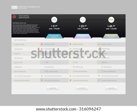 Set 8 flat modern email signature stock vector 594891269 for Email table design
