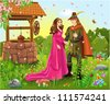prince and princess at the wishing well - stock vector