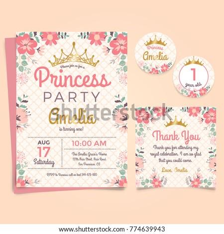 Princess birthday party invitation vector template stock vector princes party birthday invitation stopboris Gallery