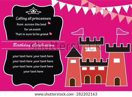Cute princess stock vector 276345734 shutterstock princess castle birthday invitation stopboris Image collections