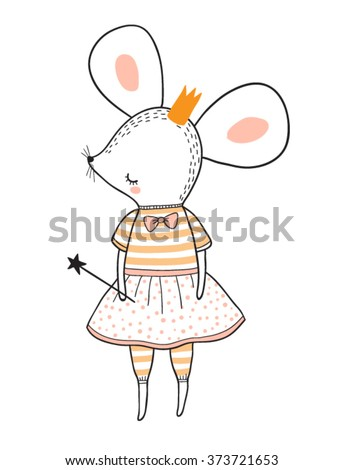princess mouse vector illustration