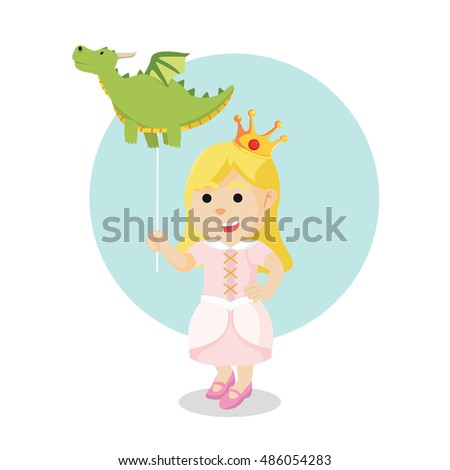 princess with holding dragon balloon