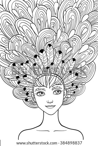 Print For The Adult Coloring BookPortrait Of A Beautiful Girl In Zentangle Style