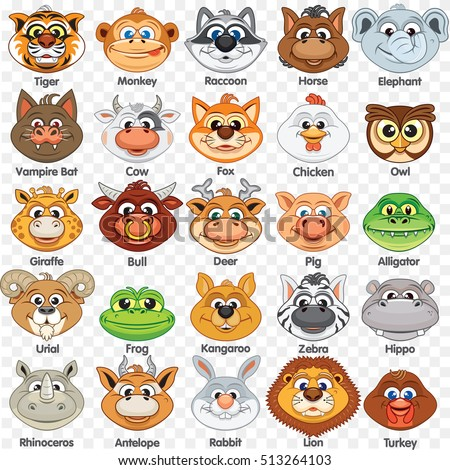 sloth mask template - set color animal faces vector flat stock vector 486480700