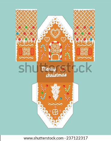 Vector pink gingerbread house template cute stock vector 525588958 printable gift gingerbread house with christmas glaze elements template for 3 d house easy pronofoot35fo Image collections