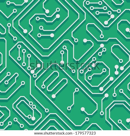 Printed circuit board with a picture of the monitor, system unit, phone, speakers, mouse and headphones, etc.