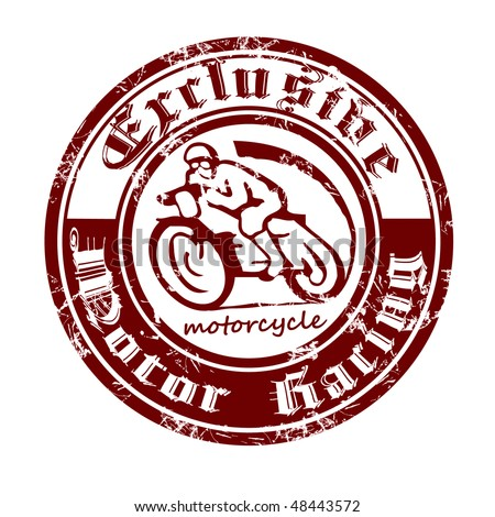 Printing is made in the old style with the image of the motorcycle.