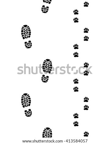 Prints of human feet and dog paws,seamless vector wallpaper