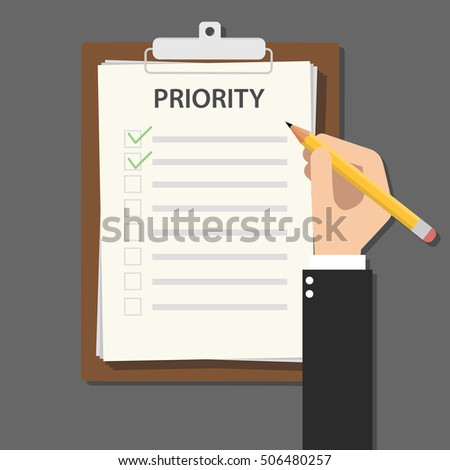 priority concept illustration with business man hand signing a paper work document on clipboard with wooden table