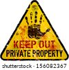 private property sign, warning / prohibition sign, vector - stock photo