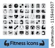 Professional fitness icons for your website. Vector illustration. - stock vector