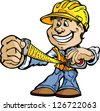 Professional Handyman Construction Worker with Tape Measure and Hard Hat Vector Illustration - stock