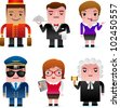 Professional occupation icons including porter, waiter, customer service representative, pilot, accountant, judge - stock photo