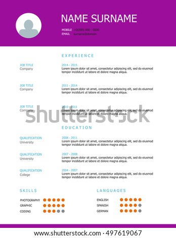 professional resume template design with purple heading - Resume Template Design