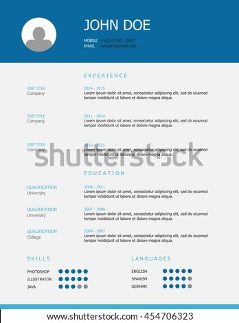 professional simple styled resume cv template design with blue and teal headings and grey background