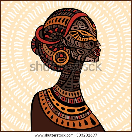 Profile of beautiful African woman. Hand drawn ethnic illustration.