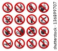 Prohibited signs, vector illustration - stock