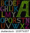 psychedelic acid color alphabet - stock photo