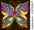 Psychedelic element.Butterfly - stock vector