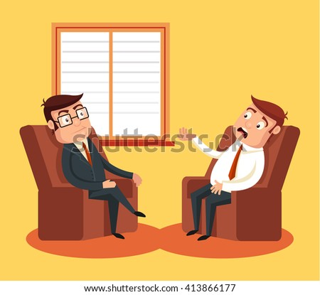 Psychologist with patient. Vector flat cartoon illustration