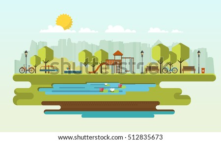 Public park in the City. Vector Flat illustration.
