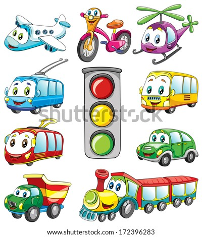 public transport with fase, set , vector illustration on white background