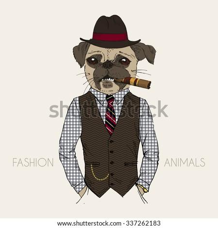 Vector Dog Hat Tie Vintage White Stock Vector 406215922 ...
