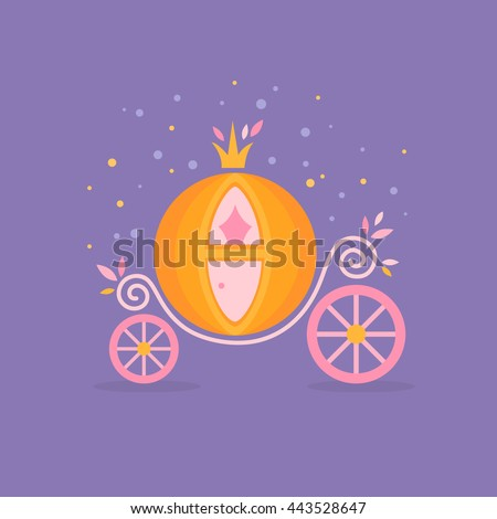 Pumpkin carriage for Cinderella, cartoon fairy-tale flat illustration isolated with decorative ornate elements
