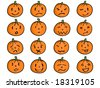 Pumpkin with different facial expressions - emoticons - stock vector