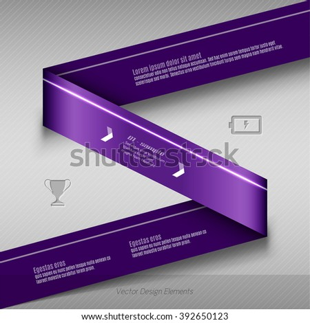 Purple vector infographics design. Infographic for presentation, banner web design, flyers or design elements. Infographic ribbons. The same illustration without sample texts in my portfolio.