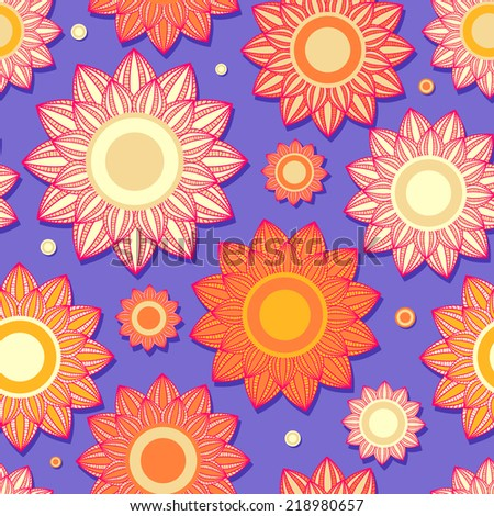 Purple Vintage Seamless Background Texture with Flowers. Floral Design Illustration
