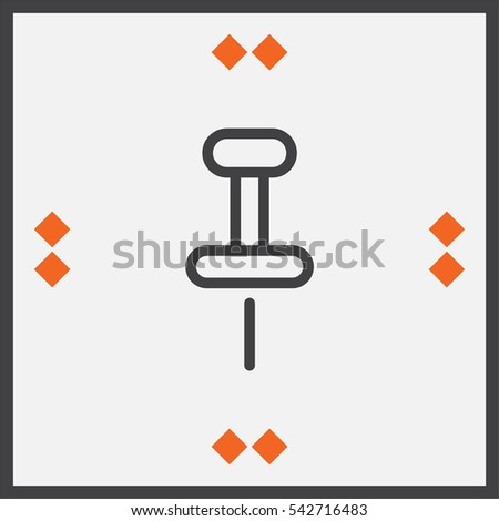 Pushpin sign line vector icon. Pin tool sign. Office stationery symbol.