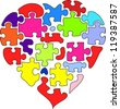Puzzle heart vector background - stock vector