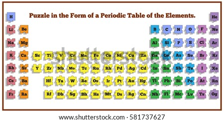 Puzzle form periodic table elements vector stock vector 581737627 puzzle in the form of a periodic table of elements vector design for app game urtaz Gallery