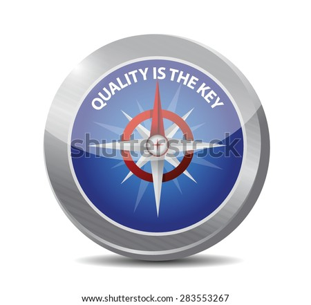 quality is the key compass sign concept illustration design over white