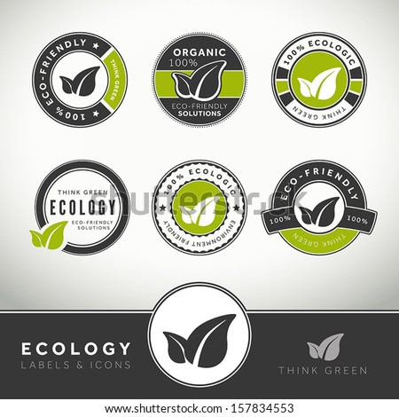 Quality set of ecology labels and badges, seals and stamps