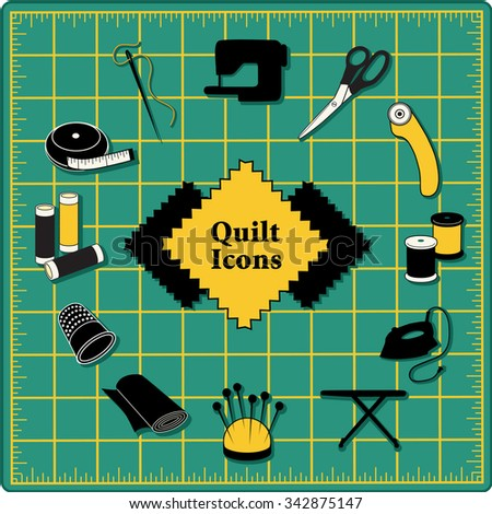 quilt icons for diy sewing pins pincushion needle thread iron - Self Healing Cutting Mat