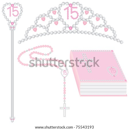 Quinceanera collection including tiara, scepter, rosary and bible. Vector