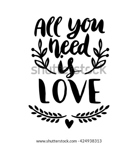 quotes valentine lettering love collection hand stock