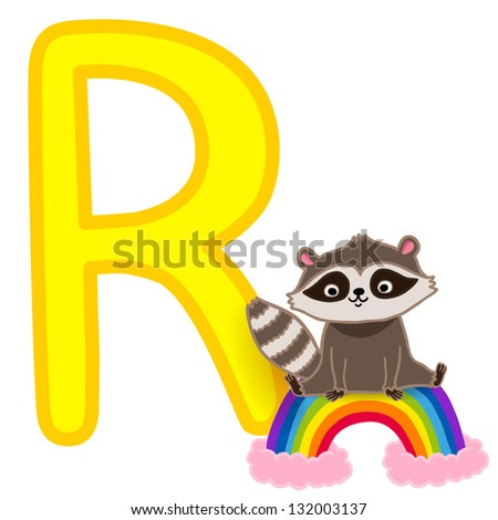 r is for raccoon  for raccoon and rainbow.