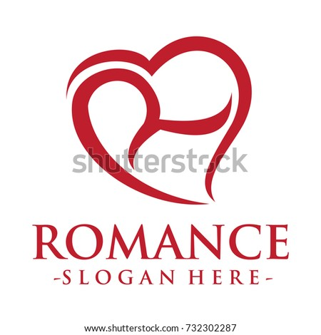 red hearts logo template on white stock illustration