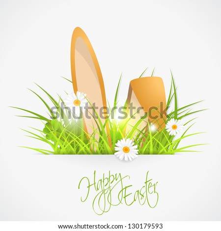 rabbit ears and green fresh grass, easter vector illustration, eps 10, with transparency