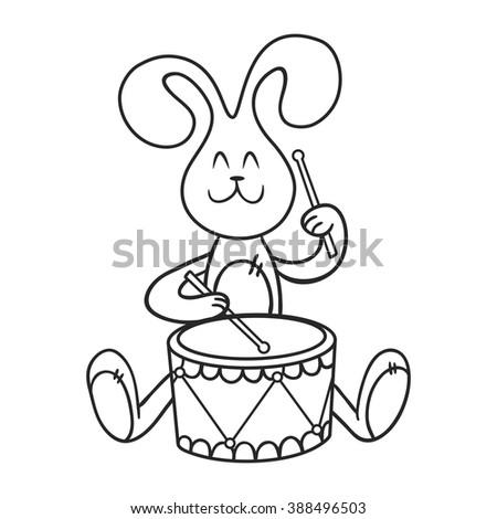 Rabbit Drum Coloring Book Stock Vector 415477921 ...