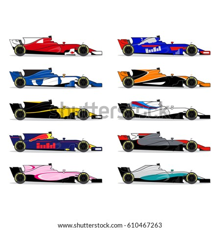 Race Car Set Formula One Championship Stock Vector