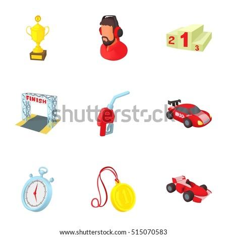 Cartoon Car Racing Icon Set Stock Vector Shutterstock