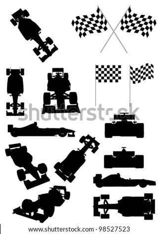 Racing Car Silhouette Set