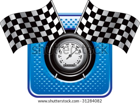 racing checkered flags and speedometer on blue halftone web button